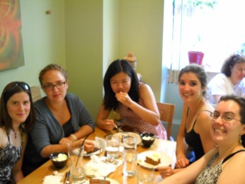 Laurel, Margo, Zhenwei, and Nina at Avocado: a restaurant with vegetarian, gluten free and vegan options.