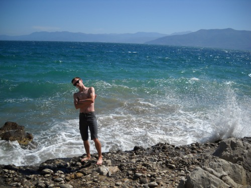 Brett thinks he's a boss for about ten seconds before the waves destroy him.