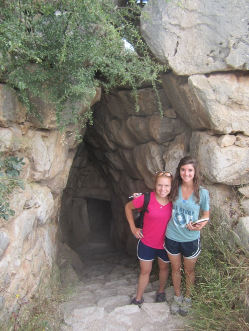 Nina and Catherine survived the trek out of the dark and scary cistern.