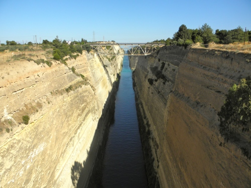 View of the Canal at the Isthmus of Corinth. This canal was built in the late 19th century. In ancient times, Corinth controlled this strategic pass between the Corinthian and Saronic Gulfs.