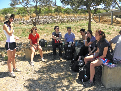 The group is taking a lunch break. The conversation involved childhood book series, television shows, and memories from Crete.