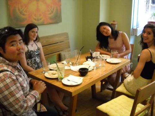 Eman, Laurel and Zhenwei showing off their clean plates.