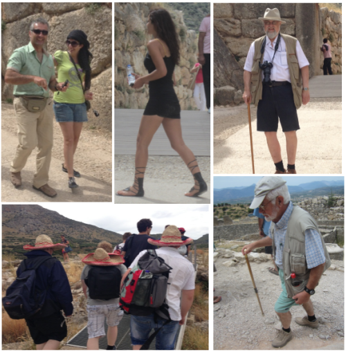 """We saw many interesting people at Mycenae today. Keep in mind that all of these people woke up this morning and said, """"Hmm. I want to wear this to one of Greece's most important historical sites"""". But who wins best dressed? Is it the woman with the neon green skull and crossbones shirt, toe shoes and headscarf, the bootylicious girl wearing only a black t-shirt, the three boys wearing sombreros, the old man with a camera strapped around his neck and a gelled beard, or the old man with sea-foam green pants and suspenders? Let the blogosphere decide."""