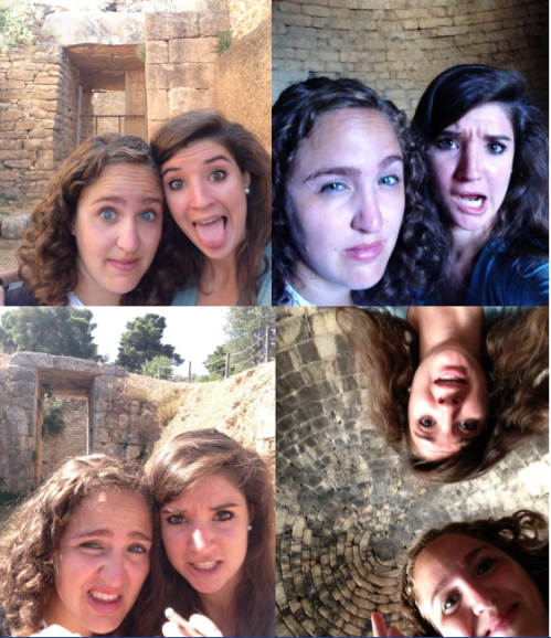 Your kick-ass bloggers, Nina and Margo take selfies at every tholos we visited today! The Aegisthus Tholos, The Tholos of Clytemnestra, the Treasury of Atreus and the Lion Tholos (from left to right clockwise).
