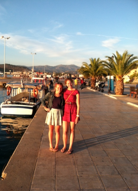 Catherine B. and Laura catch a quick sunset pic while walking along the Nafplio harbor.