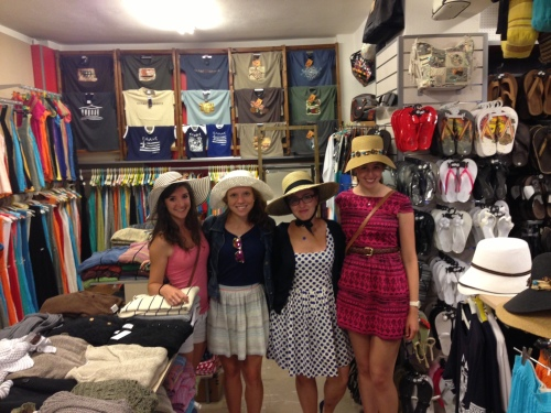 Nina was so disappointed about missing Derby that she had to go hat shopping with Catherine B., Margo, and Laura.