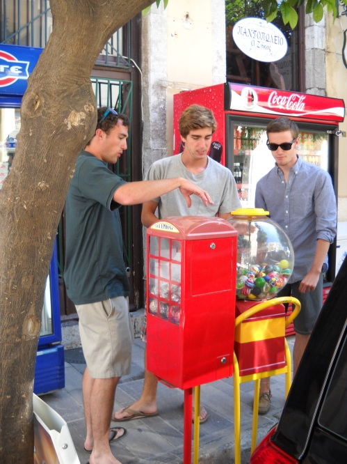 While others chose laundry, Hunter, Teddy, and Brett decide 2€ underwear out of the gumball machine is the more effective choice.