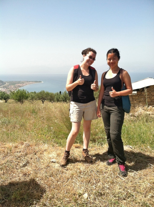 Catherine D. and Zhenwei are ready for the hike up to the Aigeira acropolis!