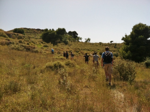 """And the ascent toward the acropolis at Aigeira begins! According to Prof. Rutter, this was a well-worn """"path"""" that led us up to the top the site… we saw no path."""