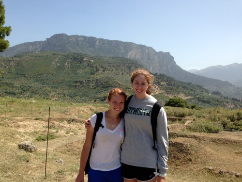 Catherine B. and Laura (your lovely bloggers) pose at the top of the Aigeira acropolis.