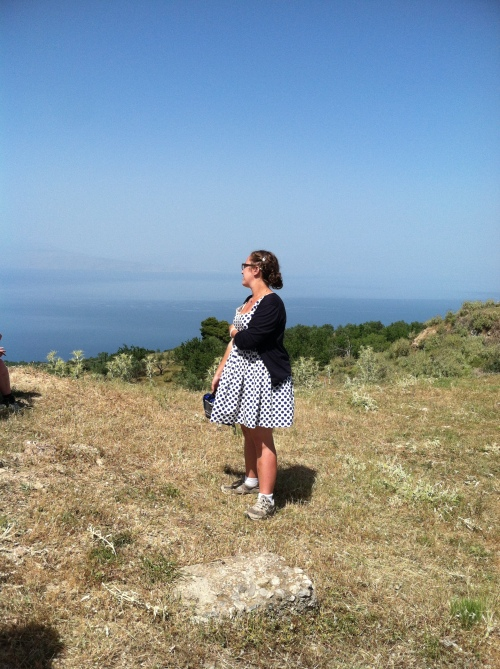 Margo takes in the view from the top of the Aigeira acropolis.