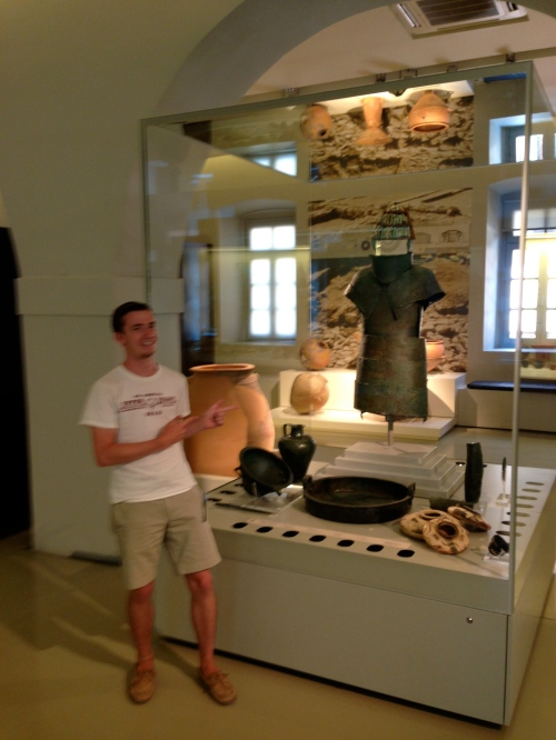 Brett poses in front of a bronze suit of armor in the Naupflion Archaeological Museum that was found in the cuirass tomb at Dendra (Midea's cemetery!). *note: this was the subject of Brett's 25-page CLST 20 paper for Prof. Peter Schultz! Yay for finally getting to see the armor in person!
