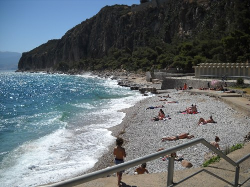 Part of the gang heads down to one of Nafplio's beaches where the aggressive waves kept most patrons out of the water.