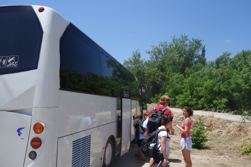 After lunch, we pile back on our bus to check out a newly excavated chamber tomb!