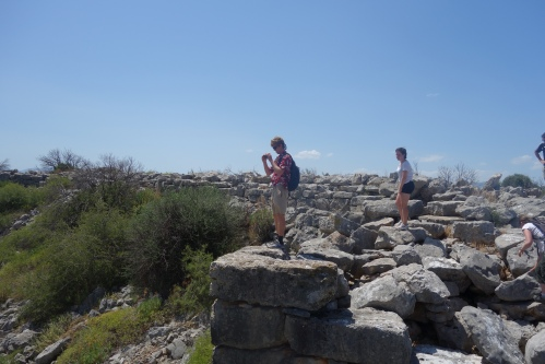 """Cam takes some blog photos from atop the fortification walls at Gla. This Mycenaean """"palace"""" showed many differences from those found in the Argolid and probably reflected a separate function."""