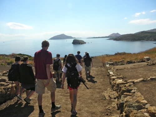 The group heads down to the shipsheds at Lavrion and passes by these quarters for the Athenian garrison that used to be stationed here in antiquity.