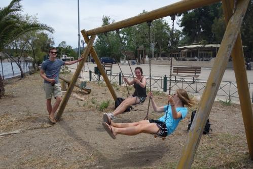 Swinging at the site of Metrou.