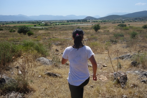 """The fearless, and possibly directionally challenged, Zhenwei leads us to down the """"trail"""" back to the bus for a quick trip back to the Big Olive! (In case you didn't catch the Hercules reference, that's the city of Thebes)"""