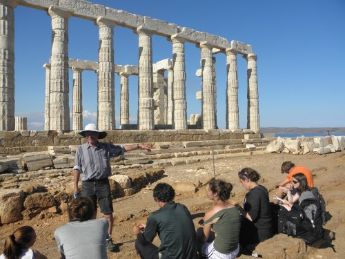 At the temple of Poseidon at Lavrion. The group listens to Professor Rutter's final lecture of the FSP about the decorations on the steps of the temple.