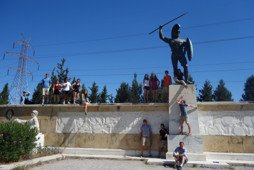Not so normal group picture. The same statue of Leonidas has been featured from previous endeavors to Sparta.