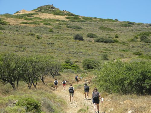 The last ascent of the trip, near Thoriki.  This time we trekked up to see some early Mycenaean tombs and the early stages of the tholos tomb.