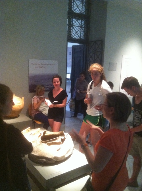 Dr. Rousioti talks about a large lead storage vessel. Lead was a by-product of silver production and was common in the southern Aegean, and there are indications that this metal came from Laurion in Attica.