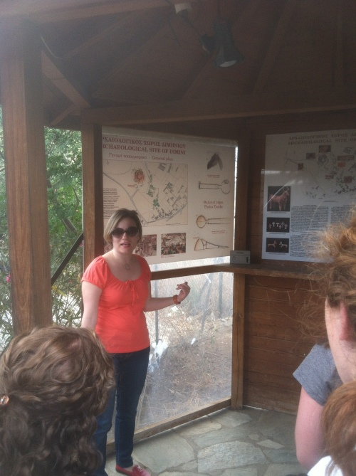 Dr. Rousioti gives an overview of the Neolithic and Mycenaean settlements at Dimini.