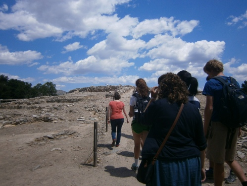 Under a beautiful sky, the group follows Dr. Rousioti to the top of the Neolithic settlement.